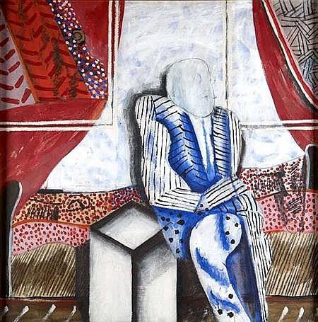 JACK KNOX RSA RSW RGI (B. 1936) MAN IN A ROOM 127cm x 127cm (50in x 50in)