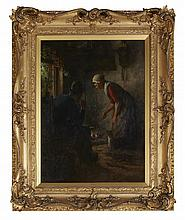 JACOBUS FRANCISCUS BRUGMAN (DUTCH 1830-1898) BY THE FIRESIDE 82cm x 60cm (32.25in x 23.75in)
