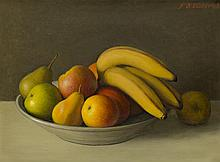 § JOHN BULLOCH SOUTER (SCOTTISH 1890-1972) A STILL LIFE OF MIXED FRUIT IN A BOWL 30cm x 40cm (11.75in x 15.75in)