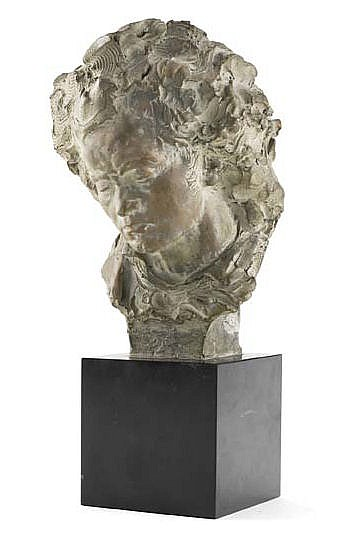 FERNAND CIAN (ITALIAN EARLY 20TH CENTURY) BUST OF BEETHOVEN 21cm high excluding black marble square plinth