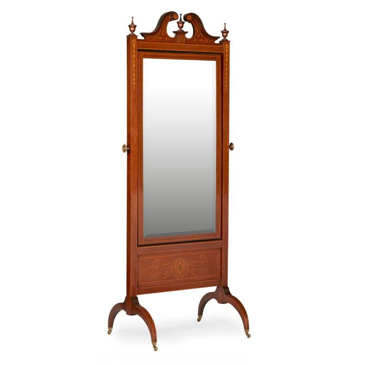 Large georgian style mahogany and satinwood cheval mirror la for Mirror 60cm wide