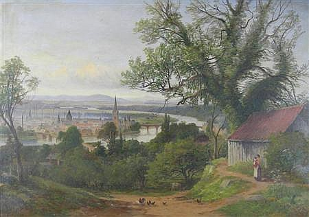 JAMES HALL CRANSTOUN (SCOTTISH 1821-1907) PERTH SEEN FROM A DISTANCE WITH A COTTAGE AND FIGURES IN THE FOREGROUND 42cm x 60cm (16.5i...