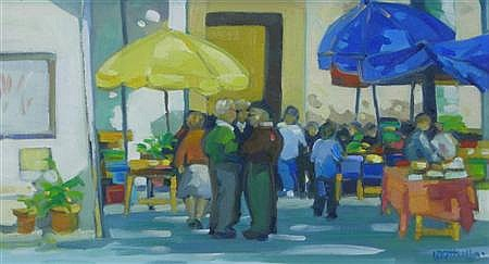 § LIN PATTULLO (SCOTTISH B. 1949) MARKET DAY 16.5cm x 31cm (6.5in x 12.25in)