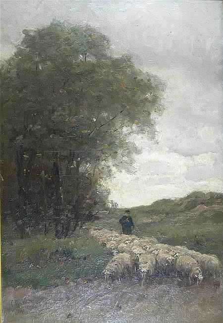 ELIAS STARK (DUTCH 1849 - 1933) THE HERD COMING HOME 54cm x 37cm (21in x 14.5in)