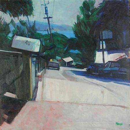 ARCHIE FORREST (SCOTTISH, B. 1950) 40 EDWARDS AVENUE, SAUSALITO, CALIFORNIA 64cm x 64cm (25in x 25in)