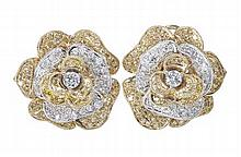 A pair of yellow and colourless diamond set floral cluster earrings 2.08cm diameter