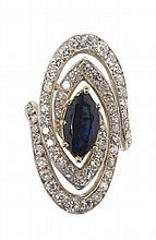 A sapphire and diamond set ring Ring size K, Length of cluster 3cm