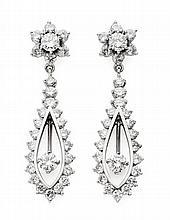 A pair of diamond set ear pendants Length of drop 4cm