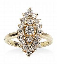 A diamond set navette shaped cluster ring Ring size: M/N (closed), length of cluster 2.05cm