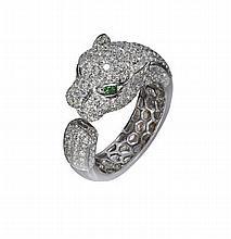 An 18ct white gold diamond mounted panther ring Ring size: N/O