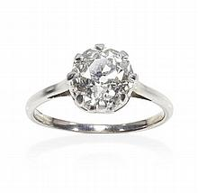 A single stone diamond ring Ring size: M/N, Estimated total diamond weight 1.80cts