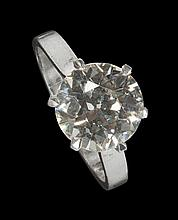 A single stone diamond ring Ring size: O/P, Estimated diamond weight 3.70cts, Colour J
