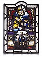 TWO GERMAN STAINED GLASS LEADED PANELS