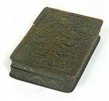 CANTON CARVED TORTOISESHELL SNUFF BOX CIRCA 1890 9.5cm wide