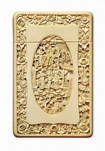 * CANTON CARVED IVORY CARD CASE QING DYNASTY, 19TH CENTURY 7cm wide, 11cm high