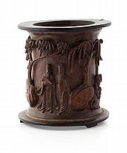 CARVED BAMBOO BRUSHPOT 16cm high