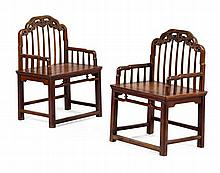 PAIR OF JUMU SPINDLE BACK ARMCHAIRS 19TH CENTURY 57cm wide, 80cm high, 43.5cm deep