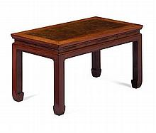 HONGMU AND BURRWOOD LOW TABLE QING DYNASTY 77cm wide, 42cm high, 41.5cm deep