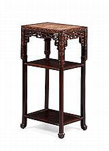 HONGMU AND MARBLE TOP THREE TIER STAND QING DYNASTY 42cm wide 81cm high, 32cm deep