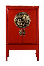 RED LACQUER CABINET LATE QING DYNASTY 106cm wide, 173cm high, 65cm deep