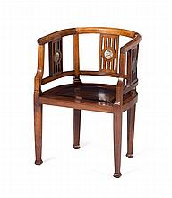 HONGMU AND MARBLE HORSESHOE CHAIR LATE QING DYNASTY 53cm wide, 74cm high, 46cm deep