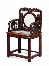 HONGMU MARBLE INSET ARMCHAIR LATE QING DYNASTY 62cm wide, 99cm high, 45cm deep