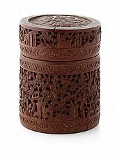 CARVED BAMBOO COVERED BOX QING DYNASTY, 19TH CENTURY 15cm high