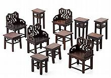 GROUP OF MINIATURE MING STYLE HARDWOOD FURNITURE LATE QING DYNASTY