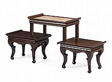 HONGMU THREE TIER MARBLE TOP STAND LATE QING DYNASTY 120cm wide, 54cm high, 32cm deep
