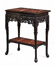 STAINED SOFTWOOD MARBLE TOP TWO TIER TEA TABLE LATE QING DYNASTY 76cm wide, 89cm high, 46cm deep