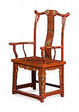 RED LACQUER YOKE BACK ARMCHAIR EARLY 20TH CENTURY 65cm wide, 117cm high, 47cm deep