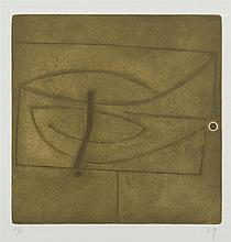 § VICTOR PASMORE C.H., C.B.E. (BRITISH 1908-1998) LINEAR MOTIF IN ONE MOVEMENT - 1974 48cm x 48.5cm (19in x 19.25in) (including marg...