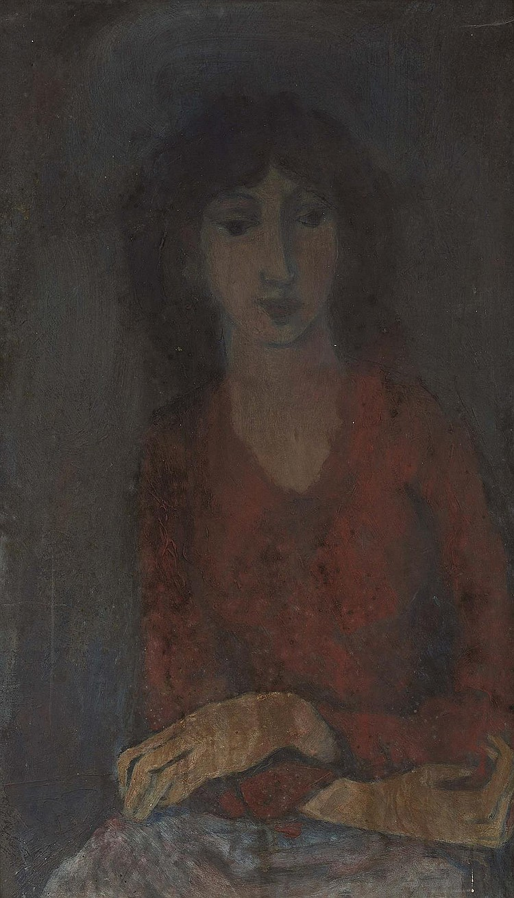 § WILLIAM SENIOR (SCOTTISH B.1927) PORTRAIT OF A LADY WITH DARK HAIR 73cm x 41cm (28.75in x 16.25in)