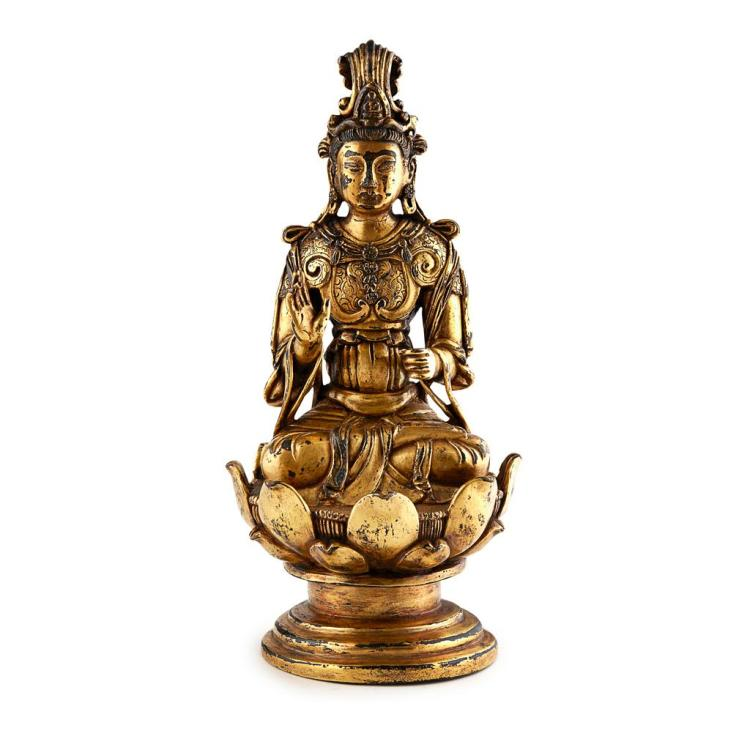GILT BRONZE FIGURE OF GUANYIN QING DYNASTY, 17TH/18TH CENTURY 21cm high