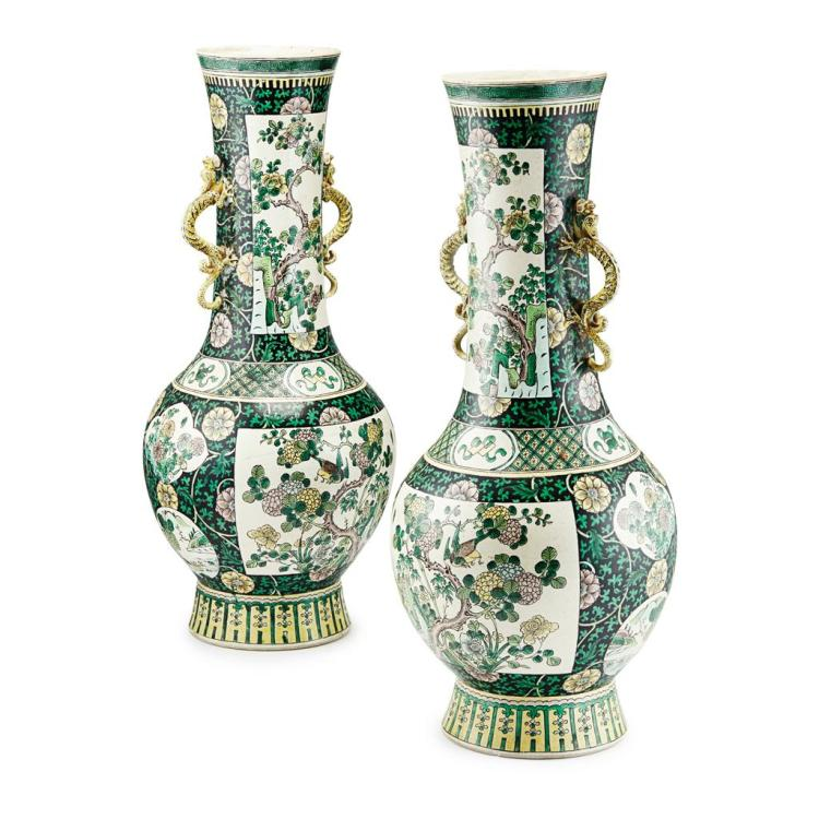 PAIR OF EXCEPTIONALLY LARGE FAMILLE VERTE VASES KANGXI MARK BUT 19TH CENTURY 55cm high