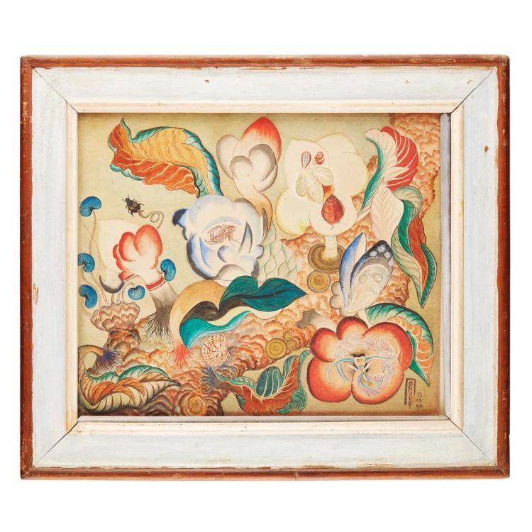LOKUKANGANANGE T.P. MANJUSRI (1902-1982) THE DANCE OF LIFE 32cm high, 38.5cm wide (sight)