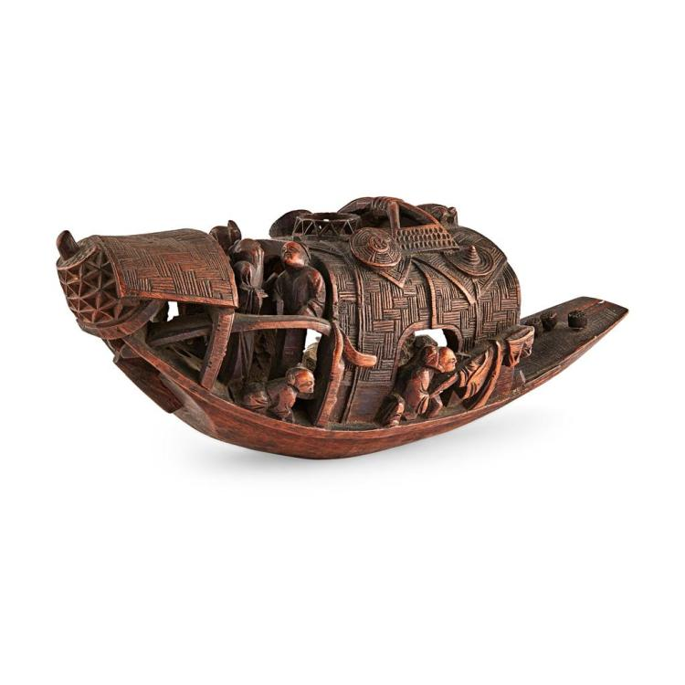 WOOD CARVING OF A BOAT 33cm long