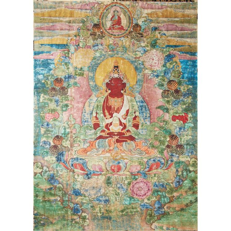 LARGE TIBETAN THANGKA OF AMITAYUS QING DYNASTY, 18TH CENTURY 152cm high, 107cm wide