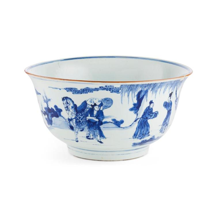 BLUE AND WHITE 'THE ELOPEMENT OF HONG FU' PUNCH BOWL KANGXI PERIOD 33.5cm diam