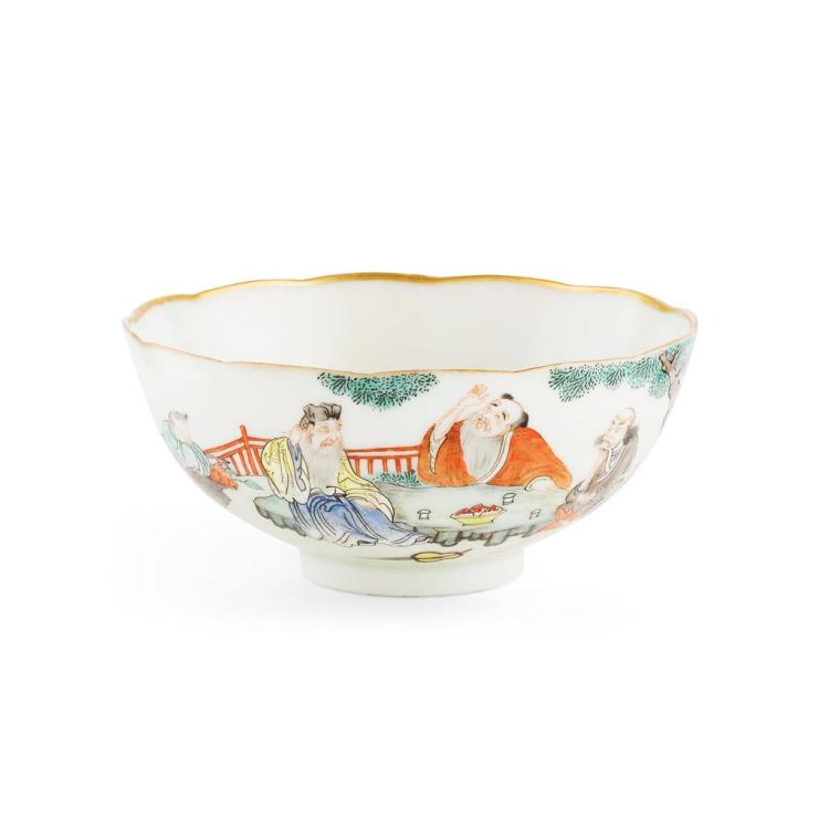 FAMILLE ROSE 'IMMORTALS' BOWL JIAQING MARK AND OF THE PERIOD 12.4cm diam