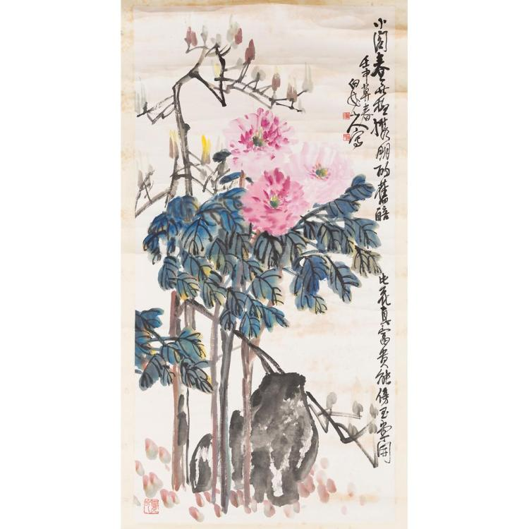 ATTRIBUTED TO WANG ZHEN (1867-1938) PEONIES 130cm high, 67.5cm wide (sight)