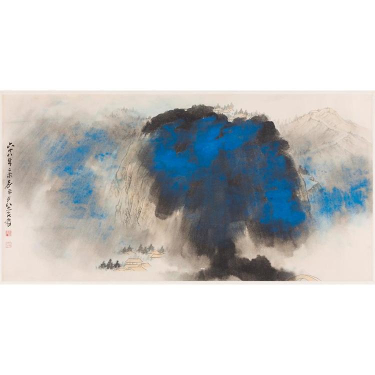 ZHANG DAQIAN (1899-1983) AND STUDIO SPRING DAWN OVER MOUNT EMEI 61cm high, 120cm long (sight)