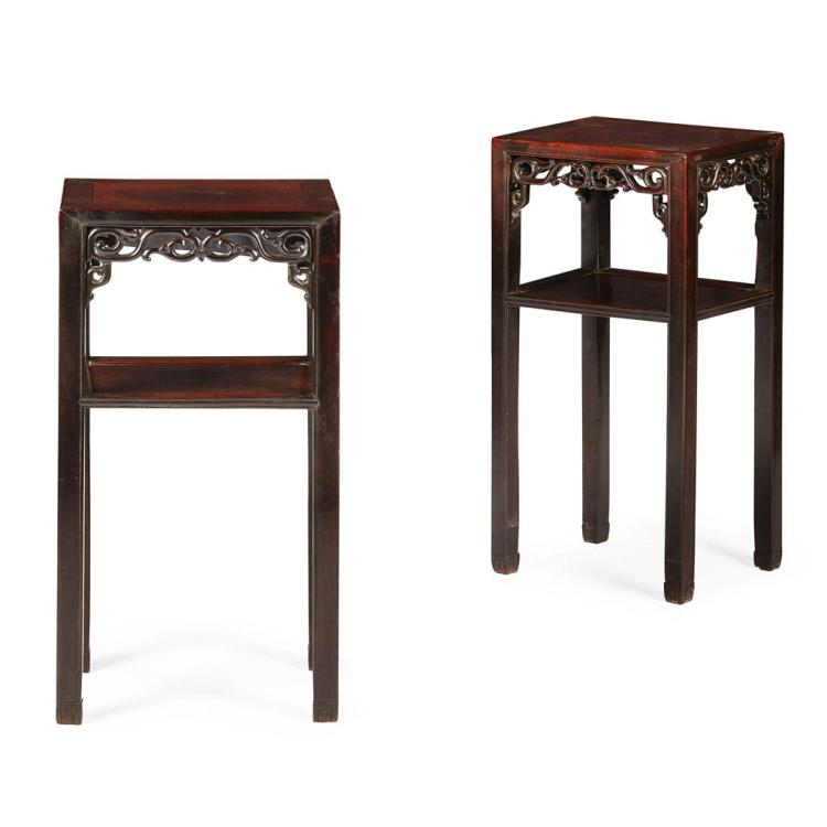 PAIR OF HARDWOOD STANDS QING DYNASTY, LATE 19TH CENTURY 41cm wide, 79cm high, 31cm deep