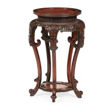 FINELY CARVED HARDWOOD STAND QING DYNASTY, 19TH CENTURY 43cm diameter, 70cm high
