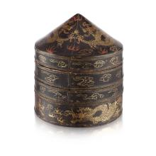 LACQUERED TWO-TIERED HAT BOXES KANGXI PERIOD 41cm high