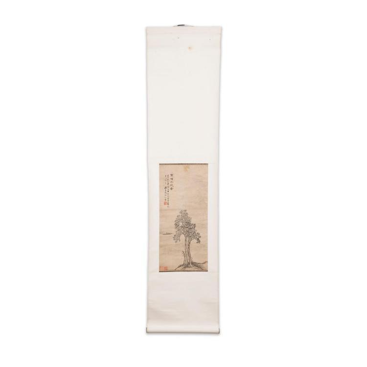 TANG YUSHENG (1778-1853) LANDSCAPE, 1821 53cm high, 25cm wide