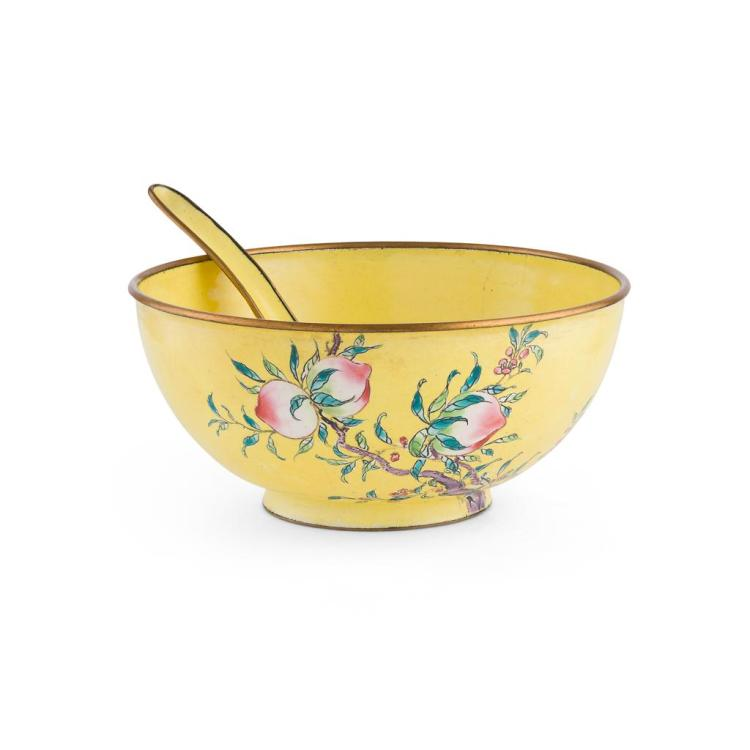 CANTON ENAMEL YELLOW-GROUND 'PEACH' BOWL AND SPOON QING DYNASTY, 19TH CENTURY 12.4cm diam