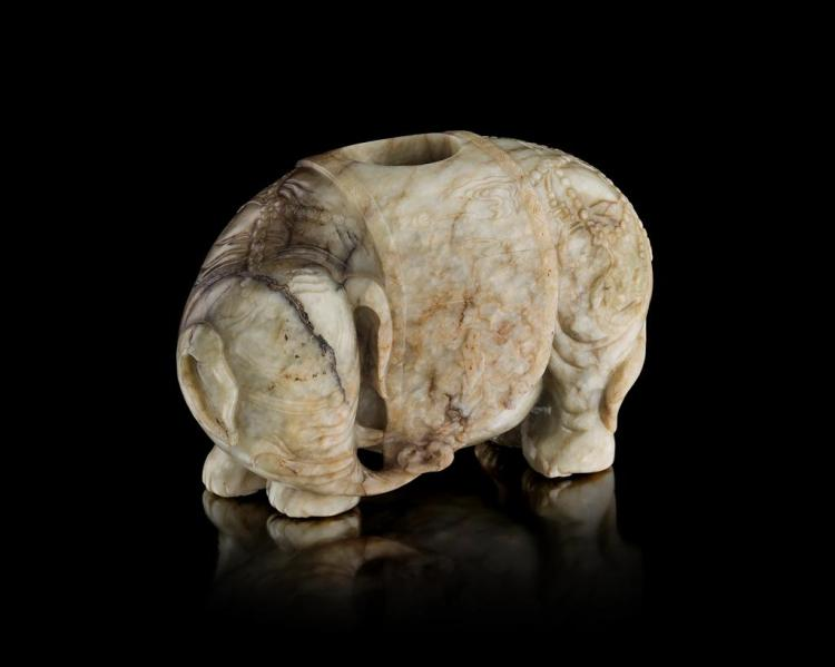 MOTTLED CELADON JADE BRUSHPOT IN THE SHAPE OF AN ELEPHANT QING DYNASTY, 18TH/19TH CENTURY 14.5cm wide