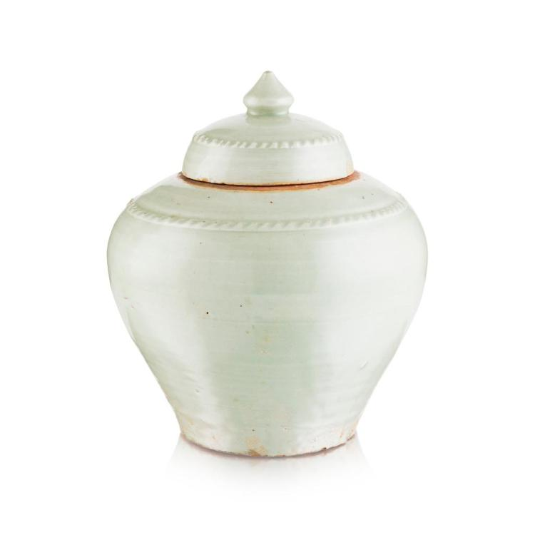 CELADON-GLAZED BALUSTER JAR AND COVER MING DYNASTY 28cm high