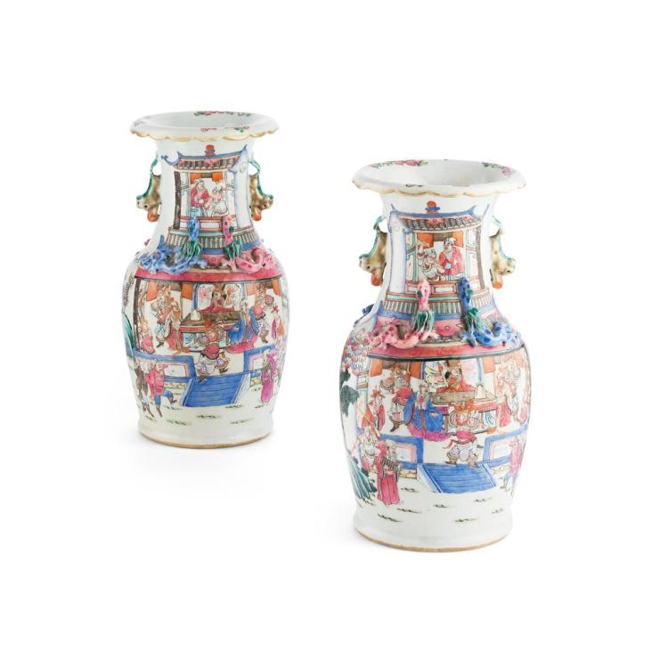 PAIR OF CANTON FAMILLE ROSE VASES LATE QING DYNASTY 34.5cm high